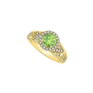 LoveBrightJewelry Peridot August And Cz April Birthstone Halo Engagement Ring