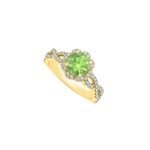 LoveBrightJewelry Peridot August Birthstone With Cz In Criss Cross Shank Halo
