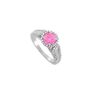 LoveBrightJewelry Pink Sapphire And Cz Halo Engagement Ring In 925 Sterling Silver