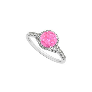LoveBrightJewelry Pink Sapphire And Cz Specially Designed Engagement Ring