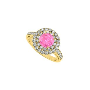 LoveBrightJewelry Pink Sapphire And Double Circle Cubic Zirconia 18k Yellow Gold Vermeil