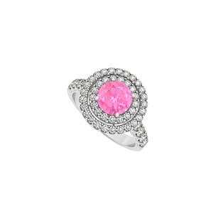 LoveBrightJewelry Pink Sapphire And Double Circle Cubic Zirconia 925 Sterling Silver