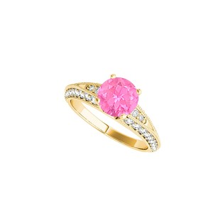 LoveBrightJewelry Pink Sapphire Cz Engagement Ring In 14k Yellow Gold