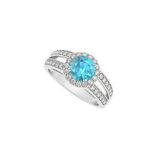 LoveBrightJewelry Round Blue Topaz Split Shank Halo Engagement Ring With Cubic Zirconia