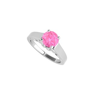 LoveBrightJewelry Round Pink Sapphire Solitaire Ring In 14k White Gold