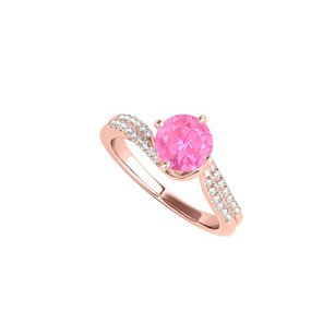 LoveBrightJewelry Round Shape Pink Sapphire And Cz Engagement Ring