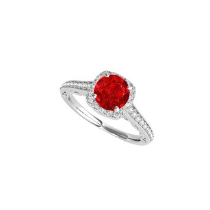 LoveBrightJewelry Ruby And Cz Halo Engagement Ring In 14k White Gold