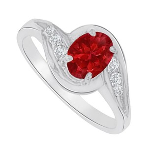 LoveBrightJewelry Ruby And Cz Swirl Engagement Ring In 14k White Gold