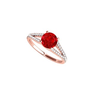 LoveBrightJewelry Ruby Cz Split Shank Ring In 14k Rose Gold 1.25 Ct Tgw