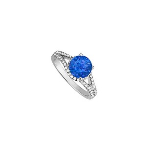 LoveBrightJewelry Sapphire And Cubic Zirconia Split Shank Engagement Ring