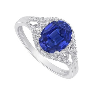 LoveBrightJewelry Sapphire And Cz In 14k White Gold Split Shank Ring