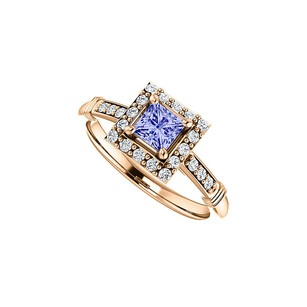 LoveBrightJewelry Cz Accented Square Tanzanite Halo Ring 14k Rose Gold