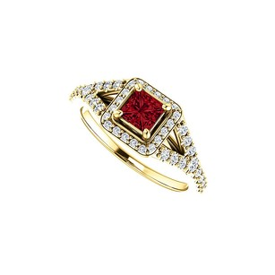 LoveBrightJewelry Cz And Faceted Cut Ruby Split Shank Halo Ring 14k Gold