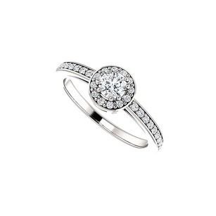 LoveBrightJewelry Round Cz Halo Engagement Ring In 14k White Gold For Her