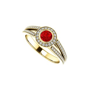 LoveBrightJewelry Cz Ruby Split Shank Halo Ring 18k Yellow Gold Vermeil