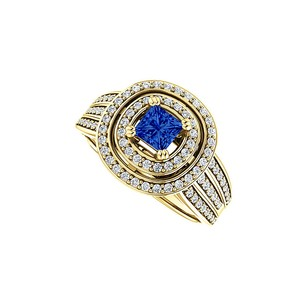 LoveBrightJewelry Double Halo Sapphire And Cz Three Rows Ring 18k Vermeil