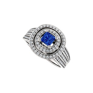LoveBrightJewelry Sapphire Double Halo Cz Three Row Ring In 925 Silver