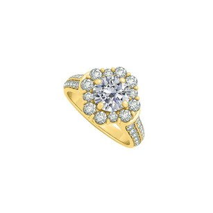 LoveBrightJewelry Cubic Zirconia Engagement Ring 18k Yellow Gold Vermeil