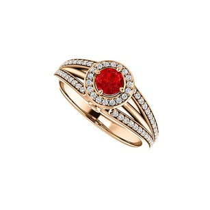 LoveBrightJewelry Cz Ruby 3 Rows Split Shank Halo Ring 14k Rose Vermeil