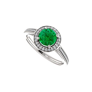 LoveBrightJewelry Cubic Zirconia Accented Emerald Halo Ring 925 Silver