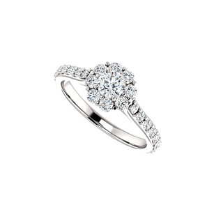 LoveBrightJewelry 1.00 Carat Cubic Zirconia Halo Engagement Ring Silver