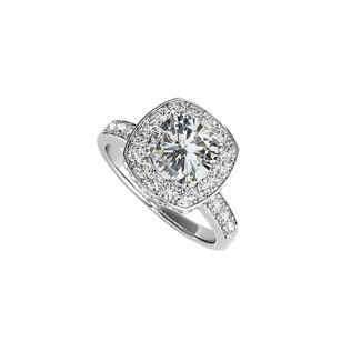 LoveBrightJewelry Square Cz Halo Engagement Ring In 925 Sterling Silver