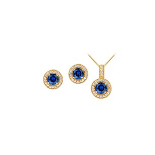 LoveBrightJewelry September Birthstone Sapphire With Cz Halo Earrings And Pendant In 18k