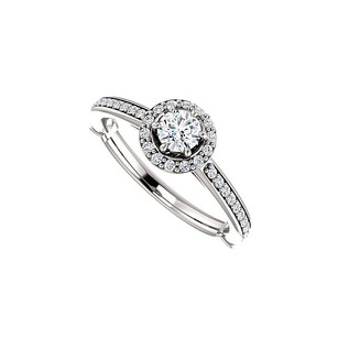 LoveBrightJewelry Round Cz Halo Engagement Ring In 14k White Gold