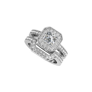 LoveBrightJewelry Cz Halo Engagement Ring Wedding Band Set White Gold
