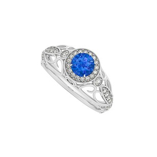 LoveBrightJewelry Sapphire And Diamonds Filigree Halo 14k White Gold Ring