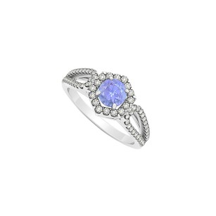 LoveBrightJewelry Serene Tanzanite Diamonds Hexagon Engagement Ring Gold