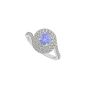LoveBrightJewelry Tanzanite Diamonds Swirl Design Halo Ring White Gold