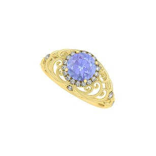 LoveBrightJewelry Tanzanite And Cz Filigree Ring In Yellow Gold Vermeil