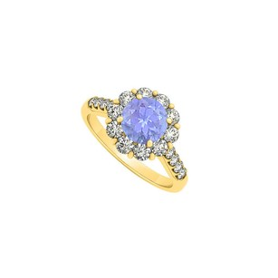 LoveBrightJewelry Tanzanite Cubic Zirconia Halo Engagement Ring 1.76 Tgw