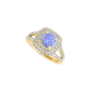 LoveBrightJewelry Tanzanite Cz Split Shank Ring In Yellow Gold Vermeil