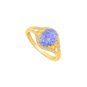 LoveBrightJewelry Yellow Gold Vermeil Split Shank Ring With Cz Tanzanite