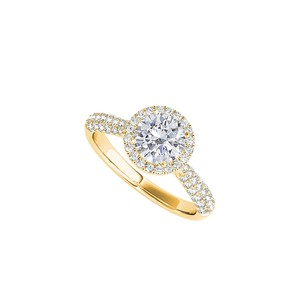 LoveBrightJewelry Cz Halo Engagement Ring In 18k Yellow Gold Vermeil