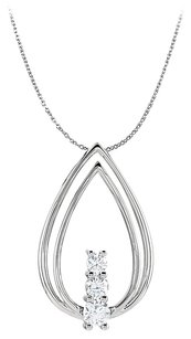 LoveBrightJewelry 3 Diamonds Freeform Pendant White Gold Teardrop Style