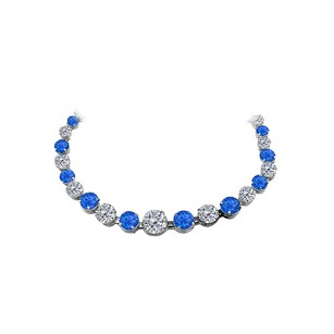 LoveBrightJewelry 30 Carat Sapphire CZ Graduated Necklace 14K White Gold