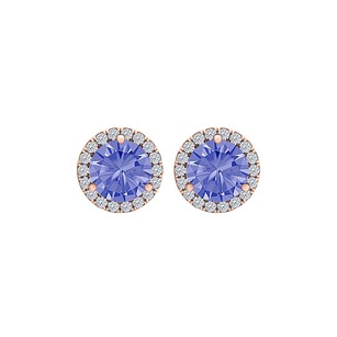 LoveBrightJewelry 6.00 mm Tanzanite CZ Round Halo Earrings 14K Rose Gold