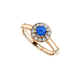 LoveBrightJewelry .75 ct. t.w. Sapphire CZ Halo Ring in 14K Rose Vermeil