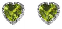 LoveBrightJewelry 8.00 Carat Peridot Heart Shape Stud Earrings 925 Silver