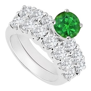 LoveBrightJewelry 925 Sterling Silver Created Emerald and Cubic Zirconia Engagement Ring with Wedding Band Set 1.15 Carat
