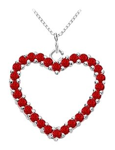LoveBrightJewelry 925 Sterling Silver Created Ruby Heart Pendant
