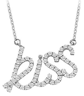 LoveBrightJewelry 925 Sterling Silver Cubic Zirconia Kiss Pendant Necklace 0.33 CT TGW