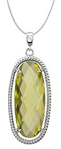 LoveBrightJewelry 925 Sterling Silver Rope Design Oval with 25x10 MM Lemon Quartz Pendant in 18 Inch