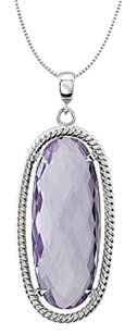 LoveBrightJewelry 925 Sterling Silver Rope Style Oval 25X10 MM Rose De France Quartz in 18 Inch Necklace