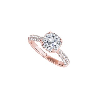 LoveBrightJewelry Always Favorite Round Cz Engagement Ring Rose Vermeil