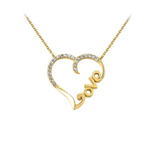 LoveBrightJewelry Amazingly Designed Cubic Zirconia And 18k Yellow Gold Vermeil Love Heart Pendant With Free Chain