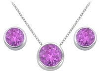 LoveBrightJewelry Amethyst Pendant and Stud Earrings Set in Sterling Silver 2.00 CT TGW